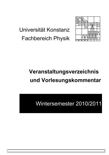 Veranstaltungsverzeichnis - Theoretische Physik - Universität ...