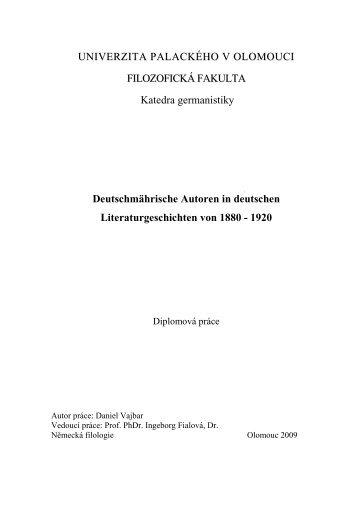 Deutschmährische Autoren in deutschen ... - Theses