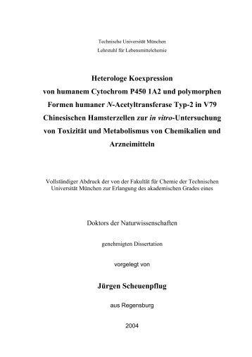 Heterologe Koexpression von humanem Cytochrom P450 1A2 und ...