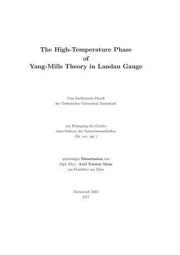 The High-Temperature Phase of Yang-Mills Theory in ... - tuprints