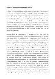 René Descartes und sein philosophisches Vermächtnis ... - UK-Online