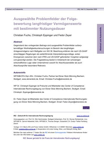 Zeitschrift für Internationale Rechnungslegung - Verlag Franz ...