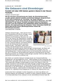 Die Gebauers sind Ehrenbürger - Die SPD in Villingen-Schwenningen