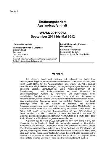 Erfahrungsbericht Auslandsaufenthalt WS/SS 2011/2012 September ...