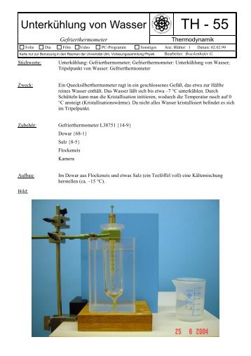 Unterkühlung von Wasser - Vorlesungssammlung Physik der ...