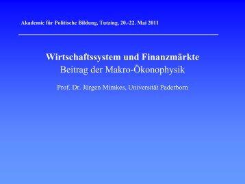Wirtschaftssystem und Finanzmärkte - Akademie für Politische ...
