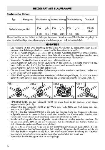 HEIZGERÄT MIT BLAUFLAMME Technische Daten HINWEISE