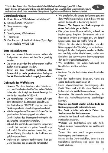 """Gerätebeschreibung A. Kontrolllampe """"Waffeleisen betriebsbereit"""" B ..."""