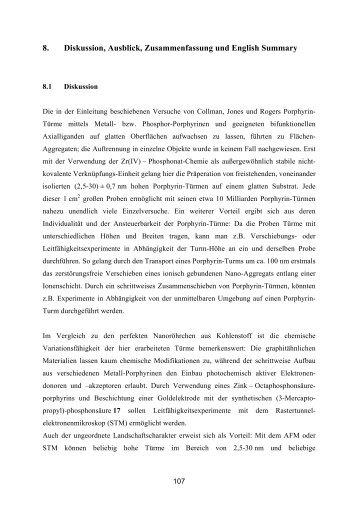 diskussion ausblick zusammenfassung und english summary - Zusammenfassung English