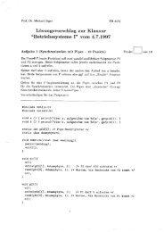 """Lösungsvorschlag zur Klausur """"Betriebssysteme I"""" vom 4.7.1997"""