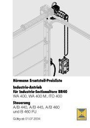 Hörmann Ersatzteil-Preisliste Industrie-Antrieb für Industrie ...