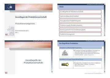 Grundbegriffe der Produktionswirtschaft - Lehrstuhl für ...