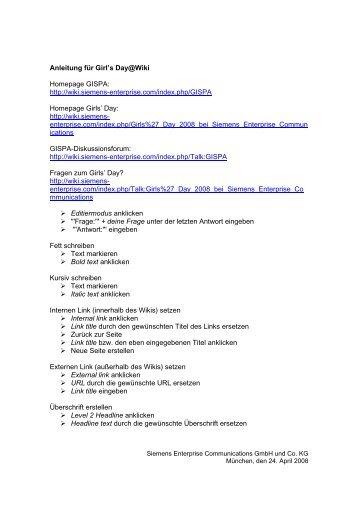 Anleitung für Girl's Day@Wiki Homepage GISPA: http://wiki.siemens ...
