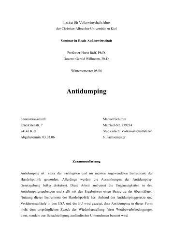 Antidumping - Willmann
