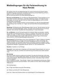 Mietbedingungen für die Ferienwohnung im Haus Renate - Wunsiedel
