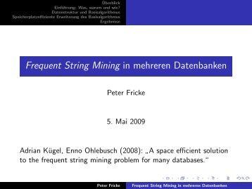 Frequent String Mining in mehreren Datenbanken