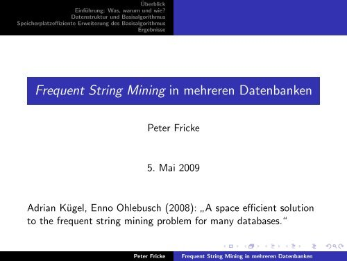 Frequent String Mining in mehreren Datenbanken