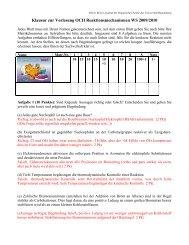Klausur zur Vorlesung OCII Reaktionsmechanismen WS 2009/2010