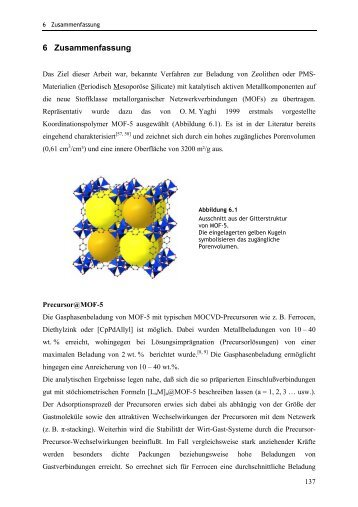 Poröse Metallorganische Netzwerkverbindungen als Trägermatrices ...