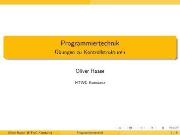 Programmiertechnik - Übungen zu Kontrollstrukturen