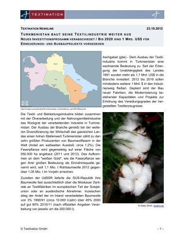 Turkmenistan baut seine Textilindustrie weiter aus - Textination