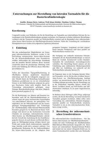 Untersuchungen zur Herstellung von lateralen Tastnadeln für die ...