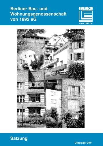 1892 Newsletter Berliner Bau Und Wohnungsgenossenschaft