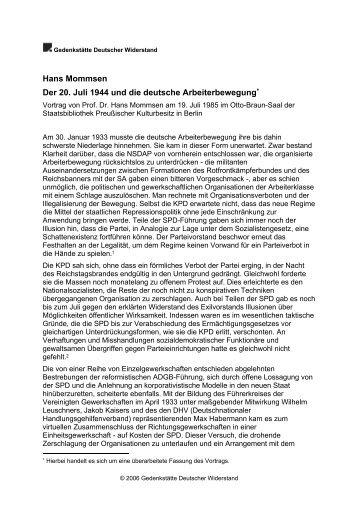 Der 20. Juli 1944 und die deutsche Arbeiterbewegung