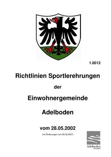 Richtlinien Sportlerehrung - Adelboden