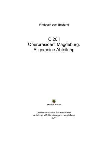 C 20 I Oberpräsident Magdeburg. Allgemeine Abteilung - Online ...
