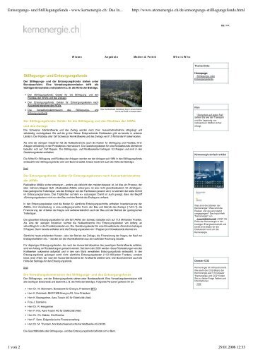 Entsorgungs- und Stilllegungsfonds - www.kernenergie.ch: Das ...
