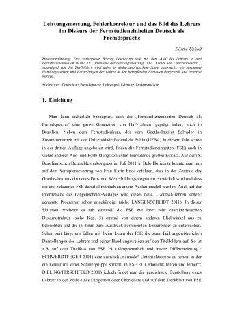 Leistungsmessung, Fehlerkorrektur und das Bild des Lehrers im ...