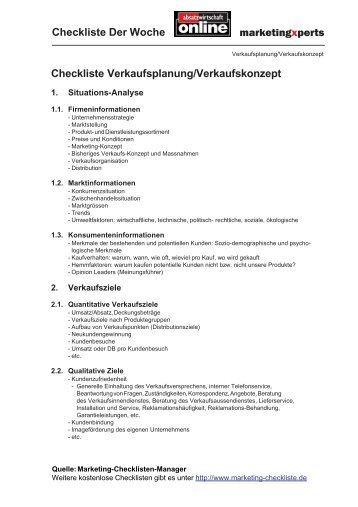 Checkliste Verkaufsplanung-Verkaufskonzept - Absatzwirtschaft