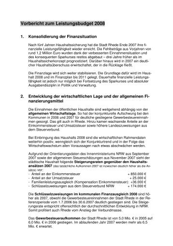 Vorbericht zum Leistungsbudget 2008 - Stadt Rhede