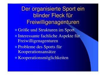Der organisierte Sport ein blinder Fleck für Freiwilligenagenturen