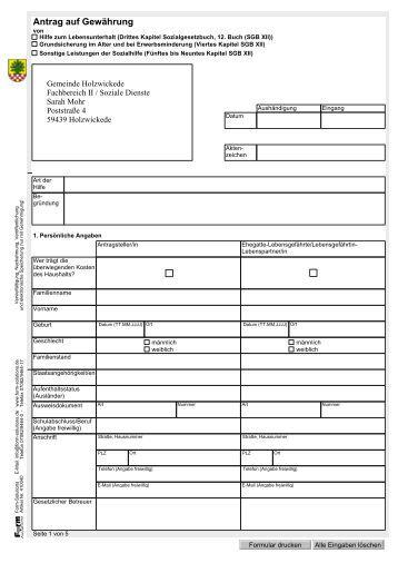 Leistungen nach dem SGB XII - Antrag - Gemeinde Holzwickede