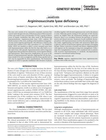 Argininosuccinate lyase deficiency