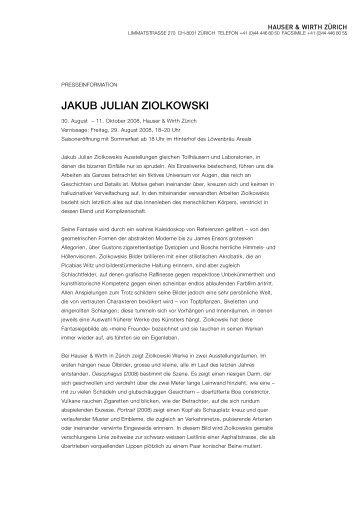 JAKUB JULIAN ZIOLKOWSKI - Hauser & Wirth