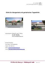 Klinik für Akutgeriatrie mit geriatrischer Tagesklinik