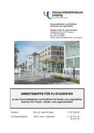 ARBEITSMAPPE FÜR PJ-STUDENTEN - Universitätsklinikum Leipzig
