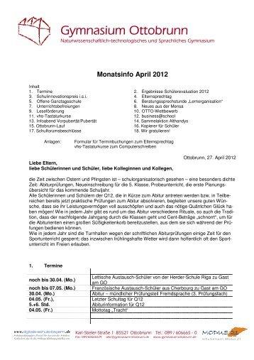 Monatsinfo April 2012 - Gymnasium Ottobrunn