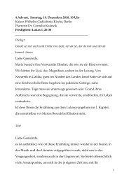 4.Advent, Sonntag, 19. Dezember 2010, 10 Uhr Kaiser-Wilhelm ...