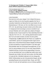 13. Sonntag nach Trinitatis, 17. August 2008, 18 Uhr Kaiser-Wilhelm ...