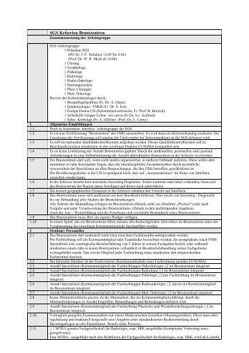 Kriterienkatalog - Schweizerische Gesellschaft für Senologie