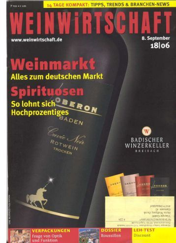 Der deutsche Weinmarkt – Marktbericht 2006 WW 18-06 - Vinergie