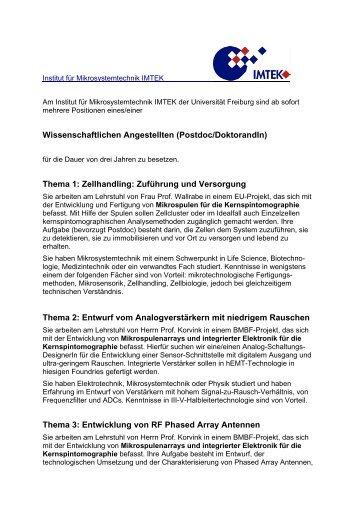 Wissenschaftlichen Angestellten (Postdoc/DoktorandIn) Thema 1 ...