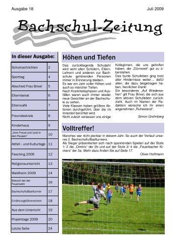 Bachschulzeitung 18 - 22.07.2009 - Bachschule Feuerbach