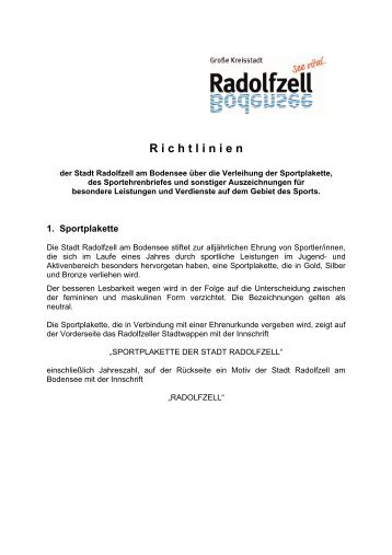 Richtlinien Sportlerehrung - Radolfzell