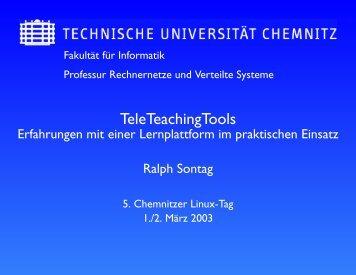 Material zum Vortrag (i.d.R. die Vortragsfolien) - Chemnitzer Linux ...