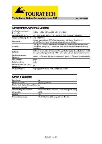 WEB Montana 650t Technische Zusatz Daten
